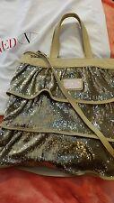 Valentino red ruffle gold sequin handbag !