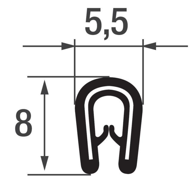 9-12 mm Kantenschutz Kantenschutzprofil Blech Keder Band Klemm Profil Gummi PVC