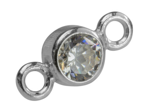 3//4//5//6//7mm Sterling Silver Bezel Set Cubic Zirconia Bracelet Connectors