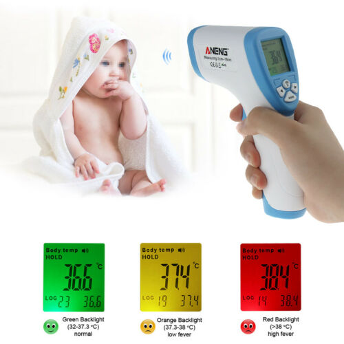 LCD Digital Non-contact IR Infrared Thermometer Forehead Body Temperature Meter