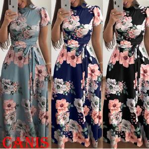 Women-039-s-Summer-Boho-Floral-Short-Sleeve-Long-Maxi-Dress-Party-Beach-Sundress-USA