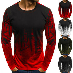 07dadc7d9 Details about Men's Slim Fit Long Sleeve Muscle Tee Shirts Casual T-shirt  Tops Loose Blouse