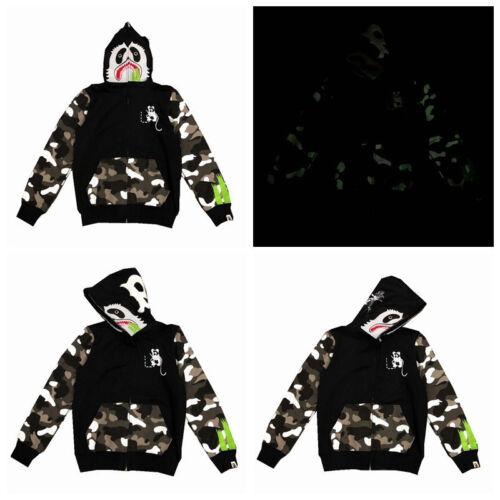 2019Panda A Bathing Ape Zip Shark Head Bape Cotton Fleece Luminous Jacket Coats