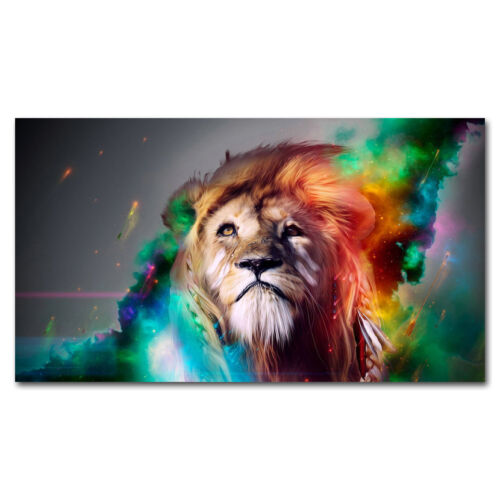 Lion Psychedelic Trippy Art Silk Poster13x24 32x57inches