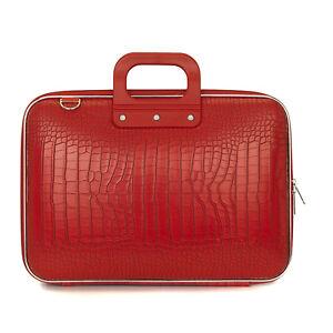 BOMBATA-Laptop-Case-15-034-Rojo-Brillante-Cocco-bolsa-con-correa-para-el-Hombro