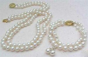 2-Rows-White-8mm-Akoya-Cultured-Shell-Pearl-Necklace-Bracelet-Earrings-Set-AAA