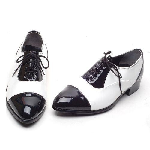 Men/'s Lace Up Straight Tips black /& white mono tone Dress shoes Korea US6-US10.5