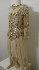 Vintage Chiffon Heavy Beaded Beige LS Drop Waist Asymmetrical Hem Sheer Gown 38