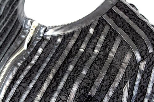 CAFe NOIR Blazer Blusenjacke mix Lederimitat und Spitze schwarz Gr S M L NEU R22