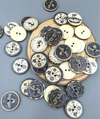 50/100pcs Wooden Buttons Round Black 2Holes Sewing Scrapbooking Craft DIY 20mm