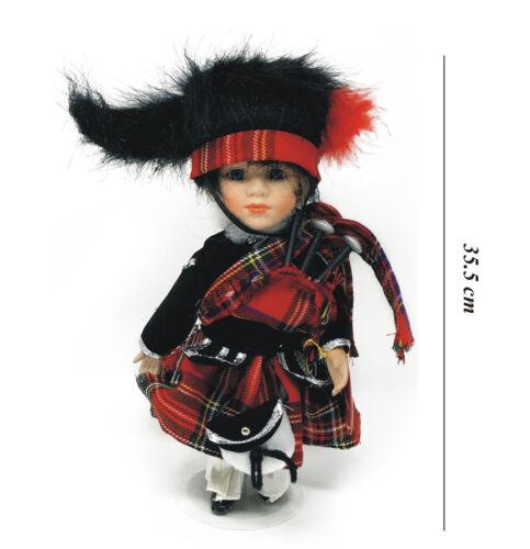 Highland Scozzese Piper bambole in cornamuse Kilt in Tartan Stewart regalo di porcellana