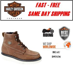 Harley-Davidson-D93136-Men-039-s-Beau-Leather-Tan-Motorcycle-Riding-Boots