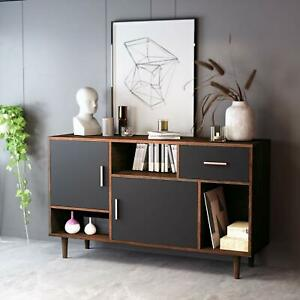 Tv Stand Mid Century Modern Home Entertainment Center For Tv Up To 47 Black Ebay
