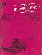 John Deere 6600 And 7700 Om H78023 Combines Operators Manual