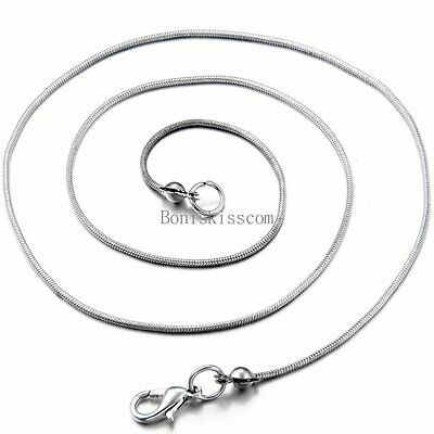 Stainless Steel 1.0mm Thin Round Snake Chain Snake Link Necklace 17 Inch Long