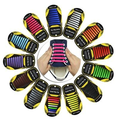 16PCS Easy No Tie Shoelaces Unisex Elastic Flat Shoe Lace Sneaker Silicone Laces