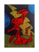 Red Horse DIPINTO ORIGINALE su una scheda di legno. legno decorative Folk-ARTE DIPINTI