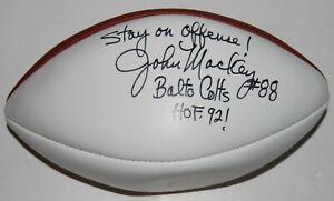 JOHN MACKEY signed (BALTIMORE COLTS) NFL White Panel autograph football W/COA