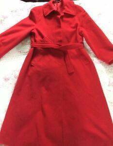 Virgin 80 Red 12 Vgc size Coat Angiolelli Wool Luxurios Long Italian Ida P0Iqqwna
