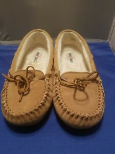 Minnetonka Suede Slippers House Shoes Moccasins Brown Women Size 10 Hard Sole