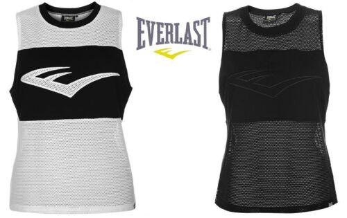 EVERLAST Womens Mesh Gym Tank Sport Training Top 10 12 14  BLACK WHITE BNWT