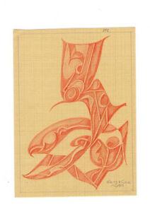 50er Jahre Zeichnung Fritz Klee original Pastell 1951 / 21cm 15,5 cm Mid Century