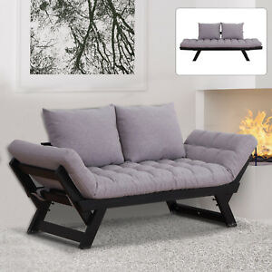 2-in-1-Sofa-Bed-Convertible-Loveseat-Living-Room-Grey