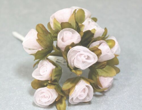 24 Organza-Röschen künstliche Blüten am Stiel rosa Hochzeit