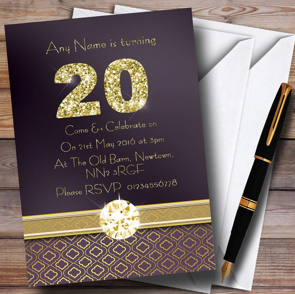Satin violet et or 20 D'anniversaire Invitations Fête D'anniversaire 20 Personnalisé acb8ba
