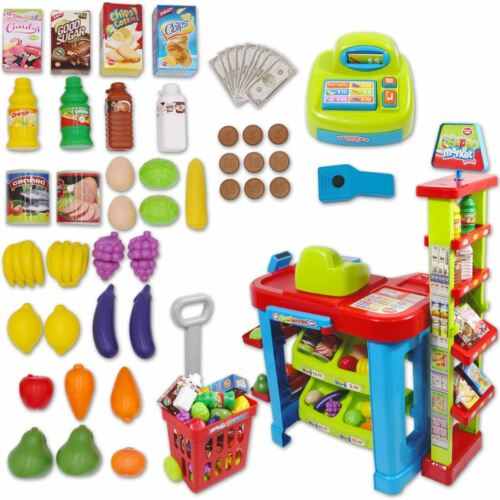 deAO Supermarket Play Set Food Stall with Trolley and Accessories Xmas Gift