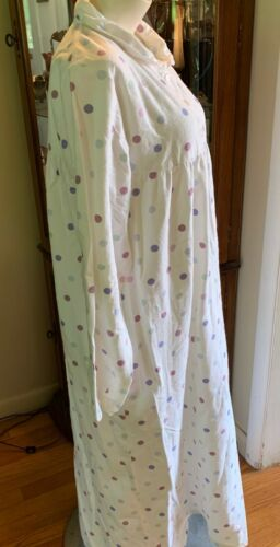 Details about  /CUDDLEDOWN ~ WHITE MULTI COLOR POLKA DOT LONG FLANNEL NIGHTGOWN ~ SIZE SMALL
