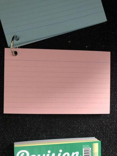 Exams GCSE A Levels Revision Study Cards 4 Pastel Colours On Handy Keyring