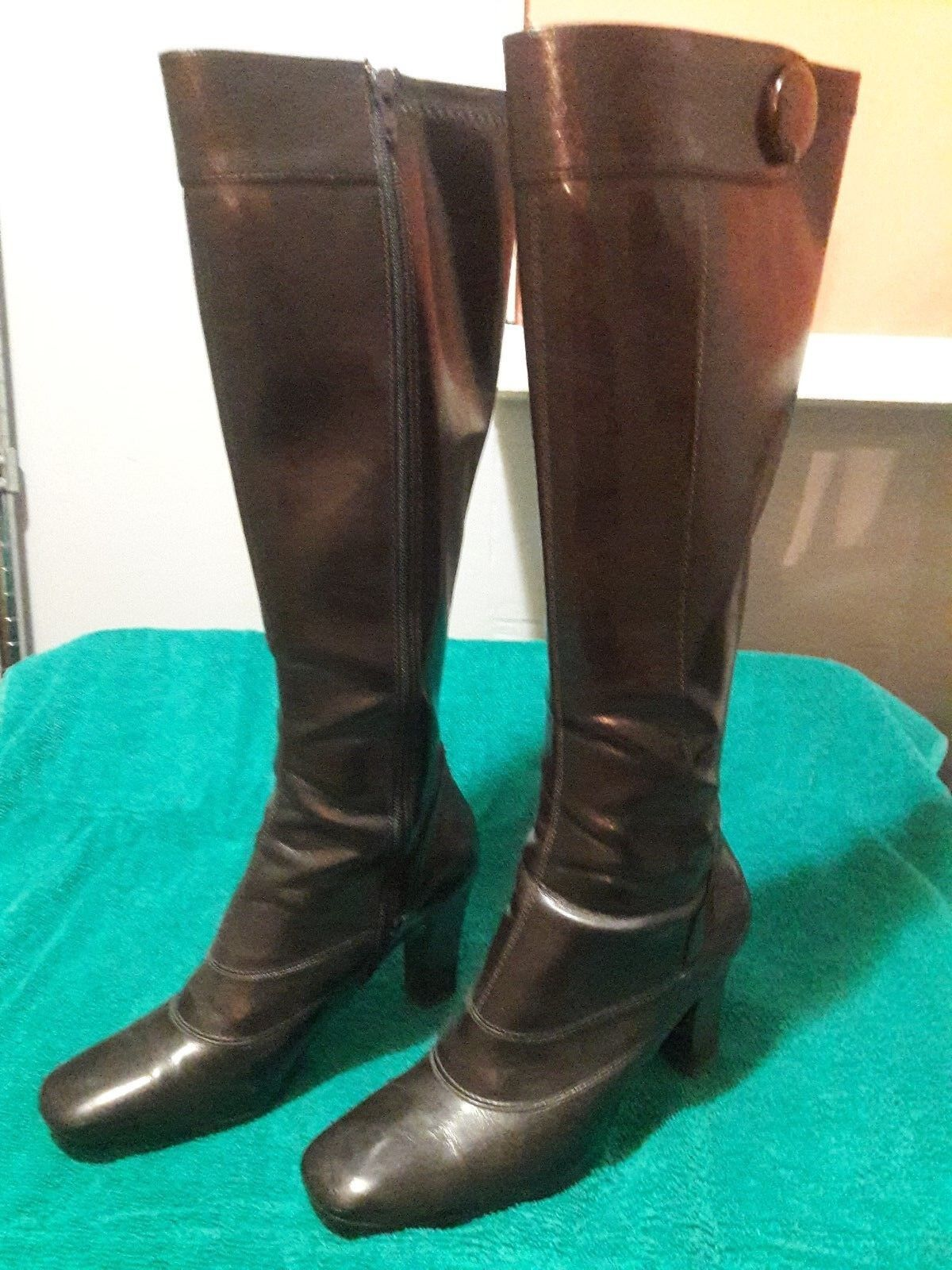FRANCO SARTO Brown Tall Boots w/ Decorative Button The Heights Size 6 1/2 M