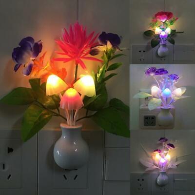 LED Night Light plug-in Wall Lamp Romantic Mushroom Decor Bathroom Flower S2F7
