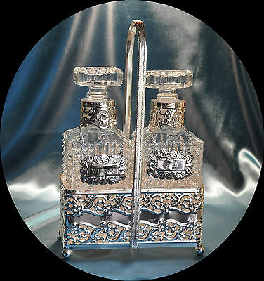 Vintage Crystal Pressed Glass Decanters in Silver Plated Holder (1134)