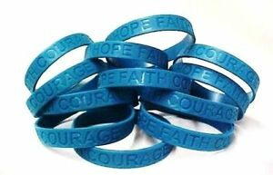 39c522b98093 Details about Teal Awareness Bracelets 50 Piece Lot Silicone Wristband  Jelly Cancer Cause New