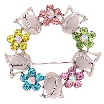 Silver Plt Flower garland Colorful crystal Rhinestone wedding Brooch Pin Jewelry