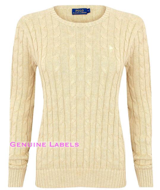 9af2c02330 Ralph Lauren Womens Biege Cable Knit Crew Neck Jumper XS-XL RRP £125 GENUINE