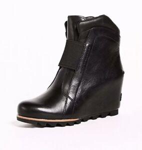 815299b221b SOREL  300 Women s Fiona Wedge Lux Booties Leather Black Size 9.5 ...