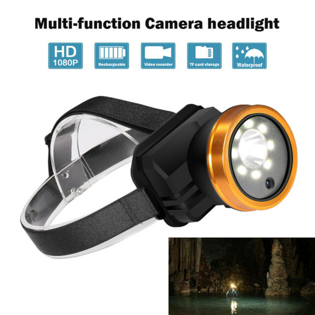 1080P Video Camera Recorder Headlight Waterproof 8 LED Lights for Sports Outdoor