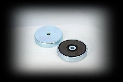 Ferrite Low Cost Pot magnet 63mm x 14mm c/w M8 Hole 35k / 77 Lbs Pull £4.99