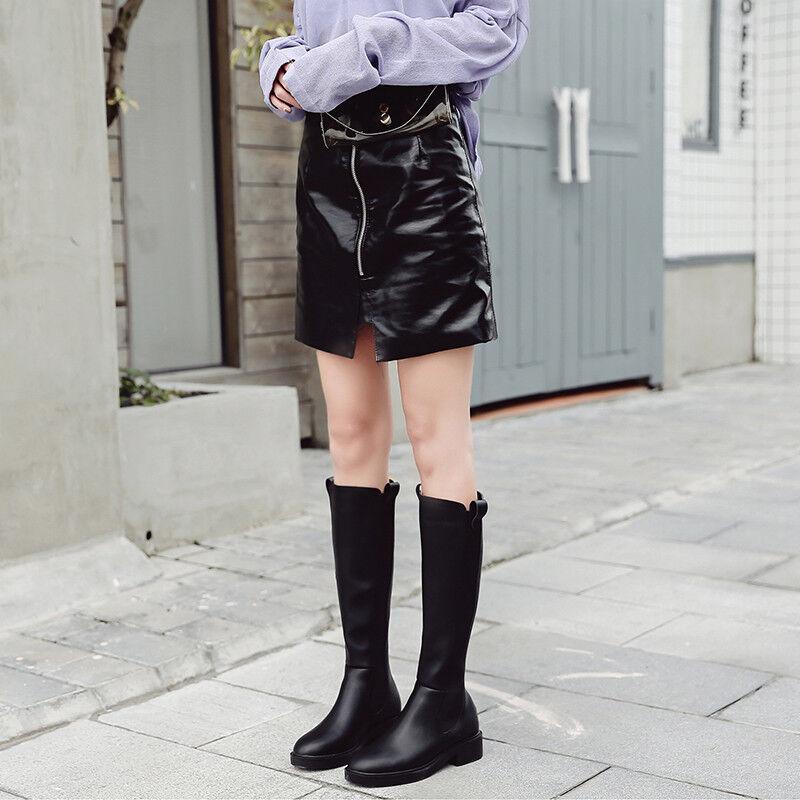 botas botas botas bikers negro como piel cómodo botas militares mujer talón 3 1487 abdaf9