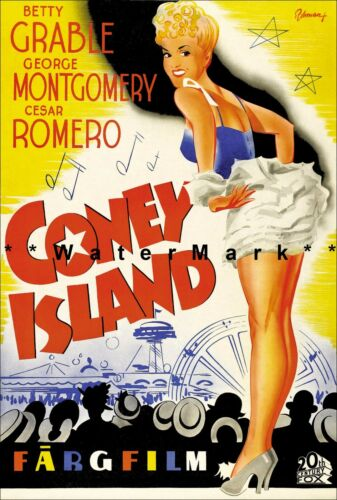 Coney Island 1944 Betty Grable Movie Film Vintage Poster Print Classic Movie