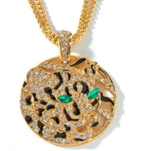 NIB HUGE Real Collectibles by Adrienne®  Great Cat Jeweled Bail  Leopard Pendant
