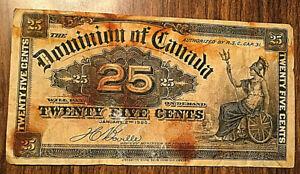 1900-Dominion-of-Canada-25-cents-Paper-bill-money