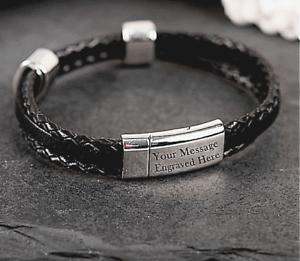 Mens-Personalised-Engraved-Black-Leather-Bracelet-Gift