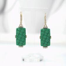 Boucles d`Oreilles Doré Jade Imi Gravure Vert Rectangle Retro X21
