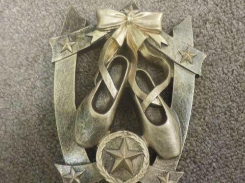 """Dance award trophy w// engraving about 6/"""" tall brushed gold ballet slippers"""