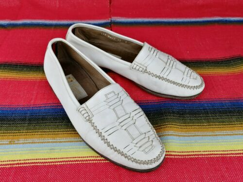 Vintage Gucci Mens White Leather Loafers Slip On S