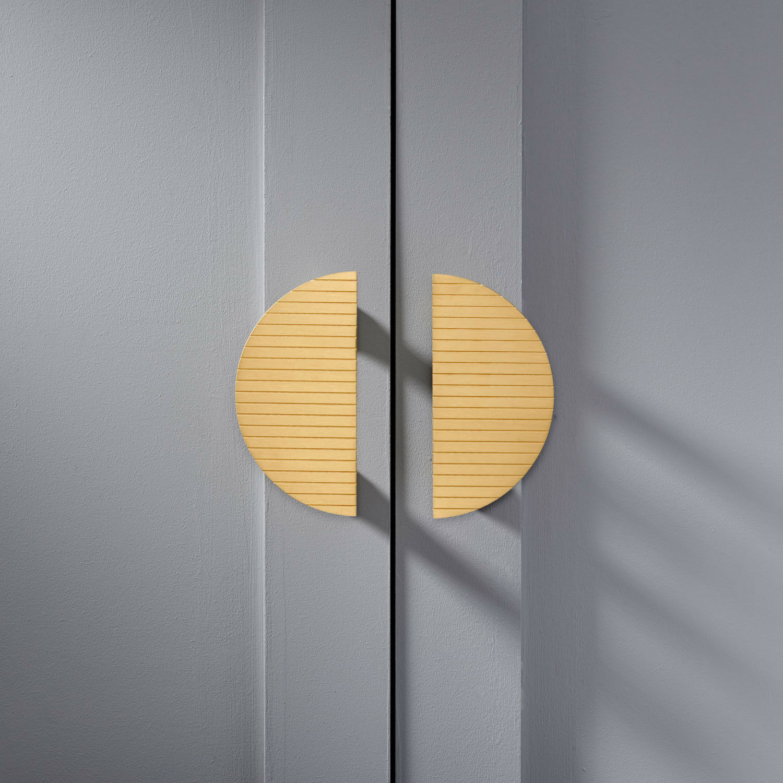 Modern Art Deco Striped Brass Half Moon Door Handles Wardrobe Cabinet Pulls